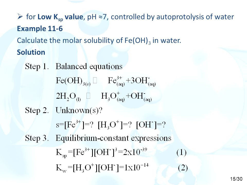 for Low Ksp value, pH ≈7, controlled by autoprotolysis of water