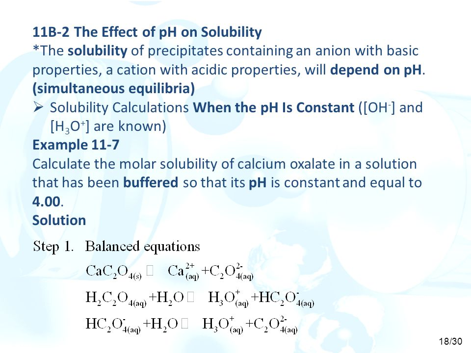 11B-2 The Effect of pH on Solubility