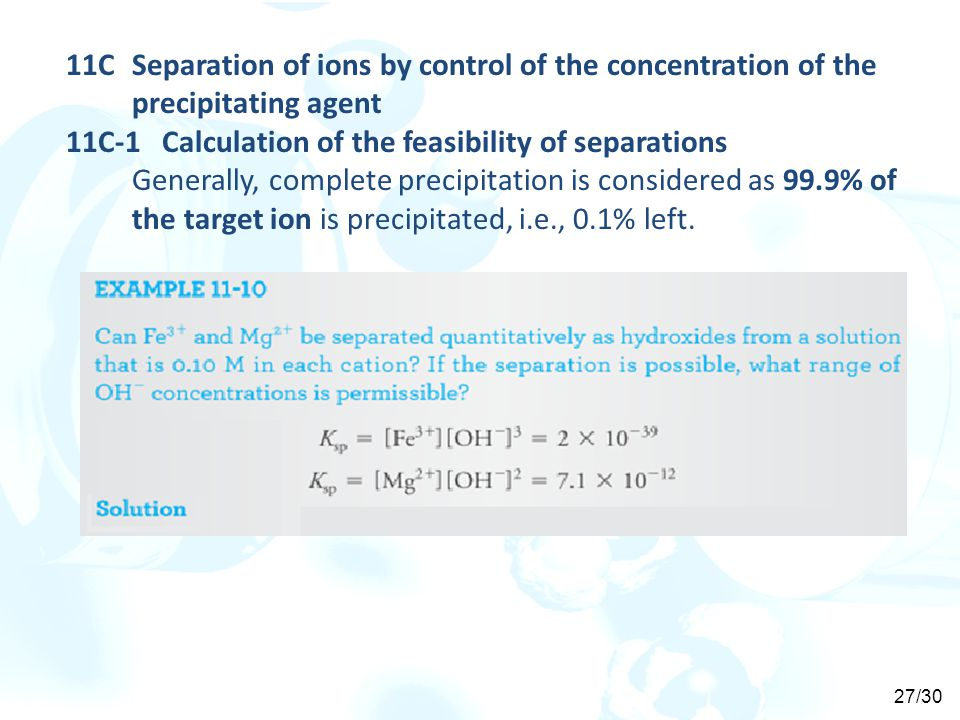 11C Separation of ions by control of the concentration of the precipitating agent