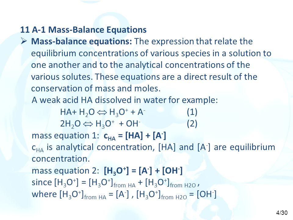 11 A-1 Mass-Balance Equations