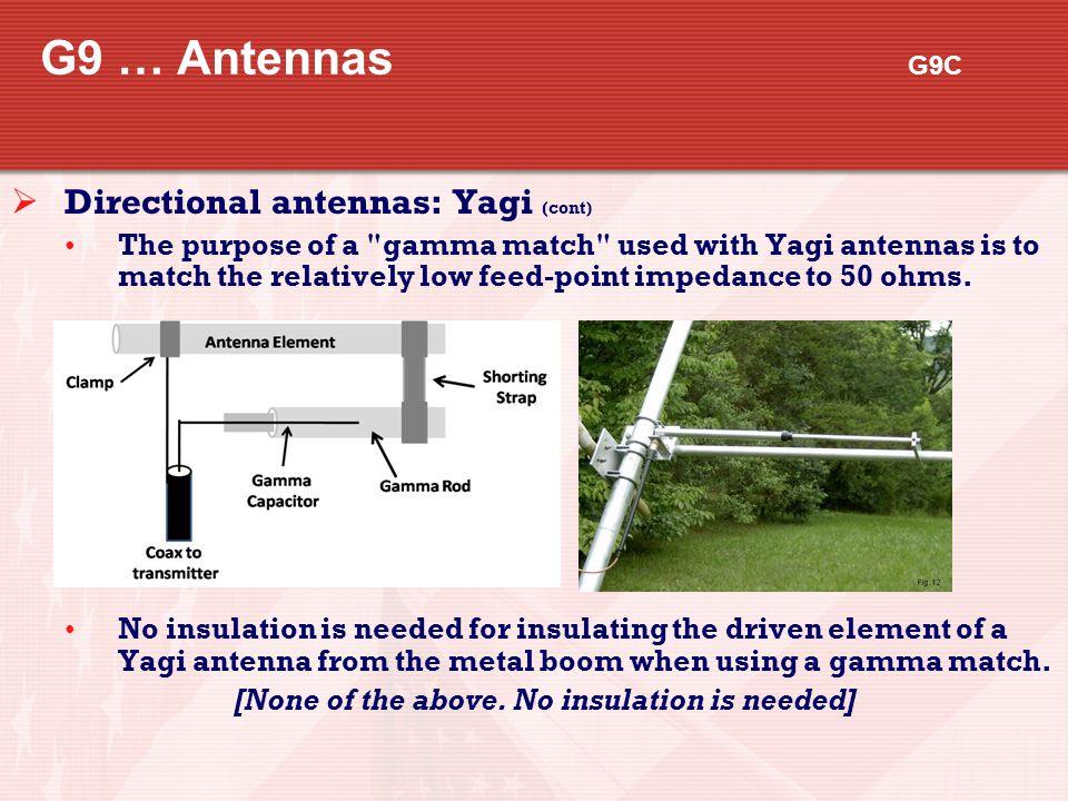 G9 … Antennas G9C Directional antennas: Yagi (cont)