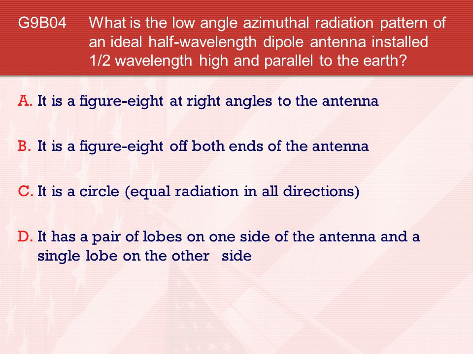 G9B04 What is the low angle azimuthal radiation pattern of an ideal half-wavelength dipole antenna installed 1/2 wavelength high and parallel to the earth