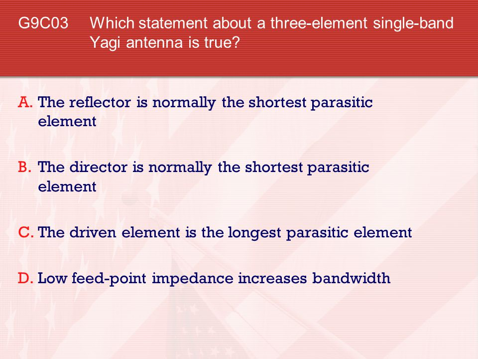 G9C03 Which statement about a three-element single-band Yagi antenna is true