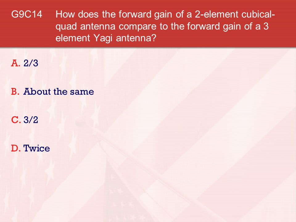 G9C14 How does the forward gain of a 2-element cubical-quad antenna compare to the forward gain of a 3 element Yagi antenna