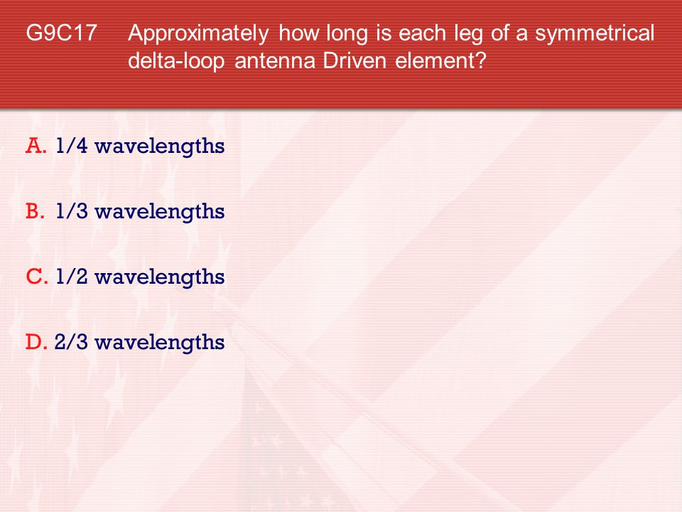 G9C17 Approximately how long is each leg of a symmetrical delta-loop antenna Driven element