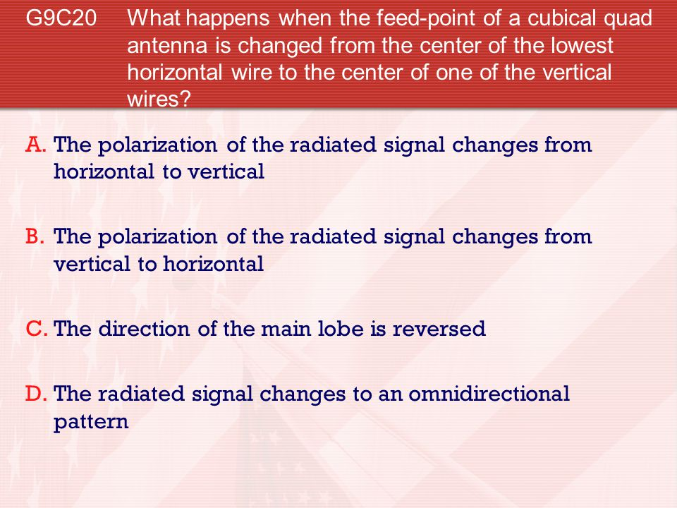 G9C20 What happens when the feed-point of a cubical quad antenna is changed from the center of the lowest horizontal wire to the center of one of the vertical wires