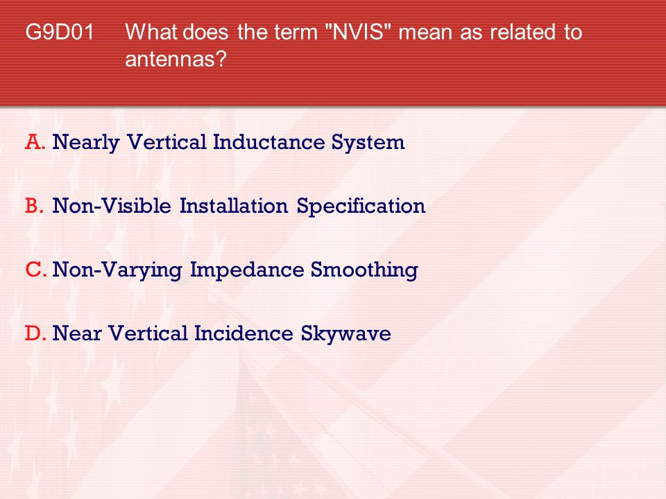 G9D01 What does the term NVIS mean as related to antennas