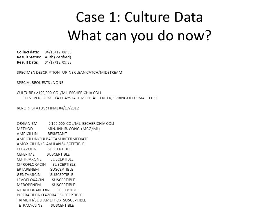 Case 1: Culture Data What can you do now