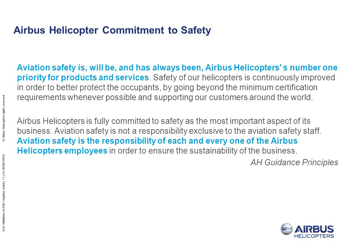Airbus Helicopter Commitment to Safety