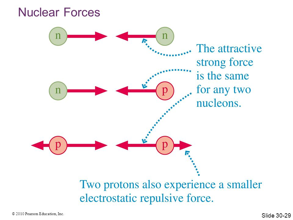 Nuclear Forces Two protons also experience a smaller electrostatic repulsive force, but it is smaller than the strong nuclear force!