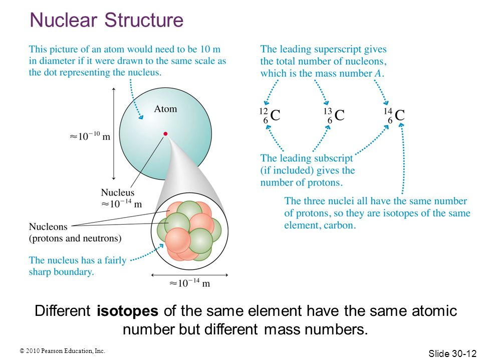Nuclear Structure Different isotopes of the same element have the same atomic number but different mass numbers.