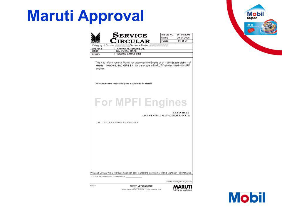 Maruti Approval For MPFI Engines