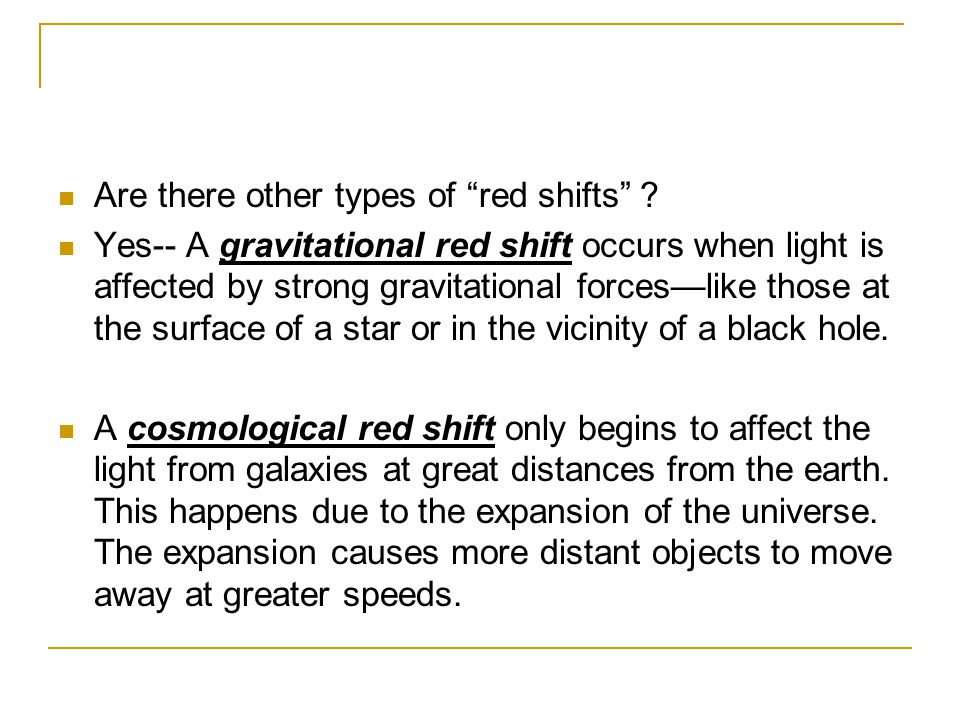 Are there other types of red shifts