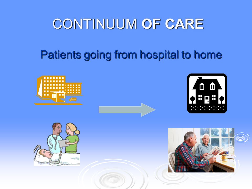 CONTINUUM OF CARE Patients going from hospital to home