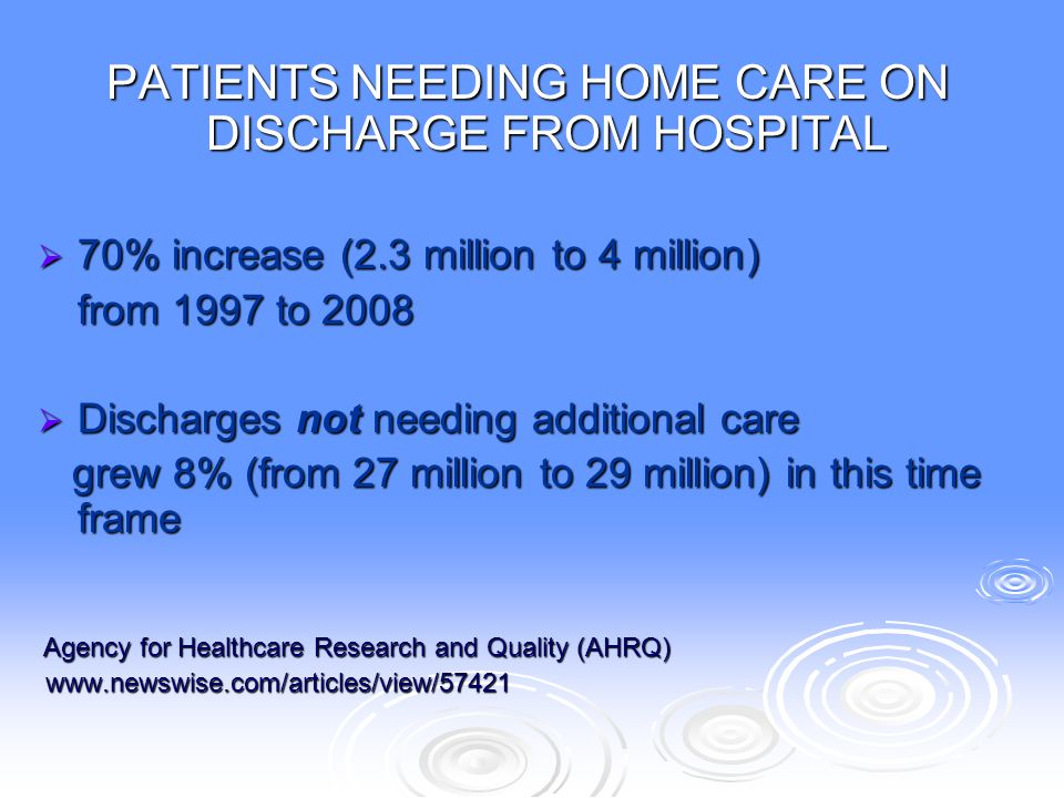 PATIENTS NEEDING HOME CARE ON DISCHARGE FROM HOSPITAL