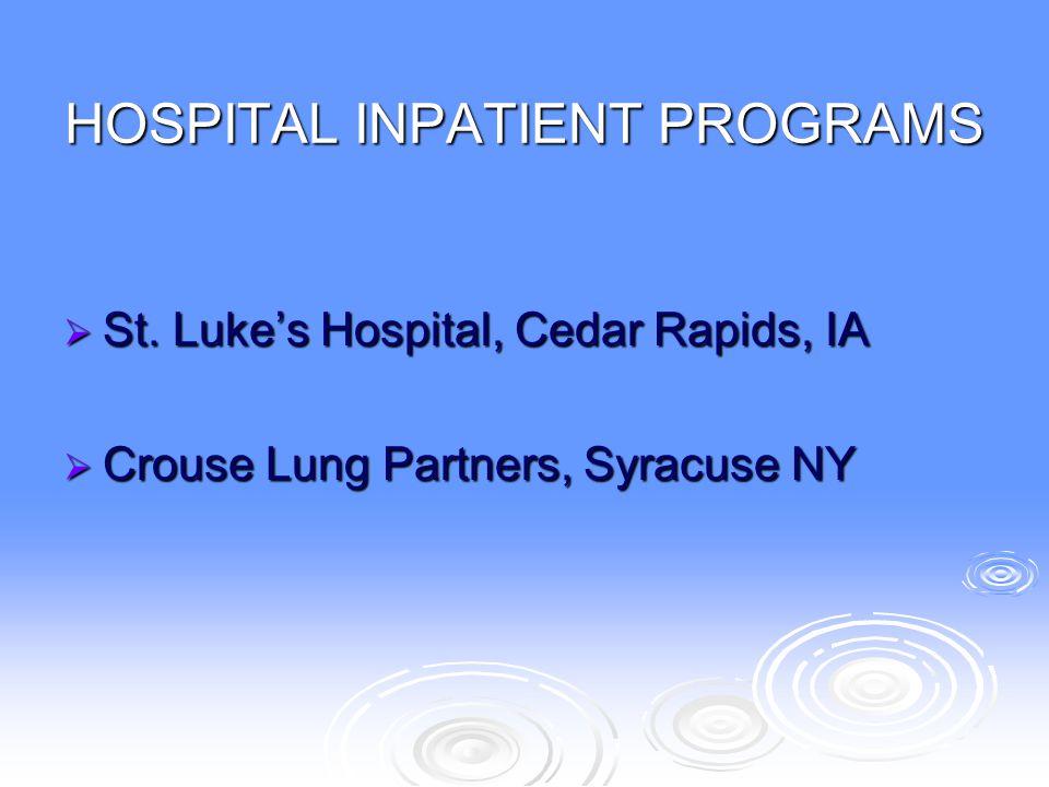 HOSPITAL INPATIENT PROGRAMS