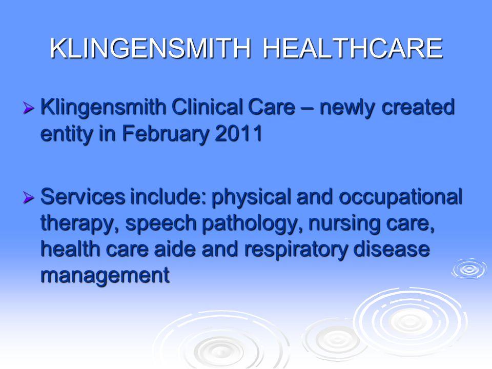 KLINGENSMITH HEALTHCARE