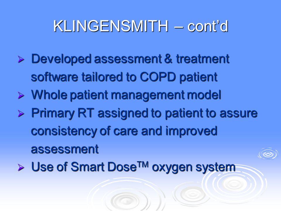 KLINGENSMITH – cont'd Developed assessment & treatment