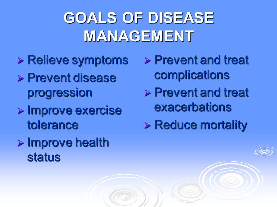 GOALS OF DISEASE MANAGEMENT