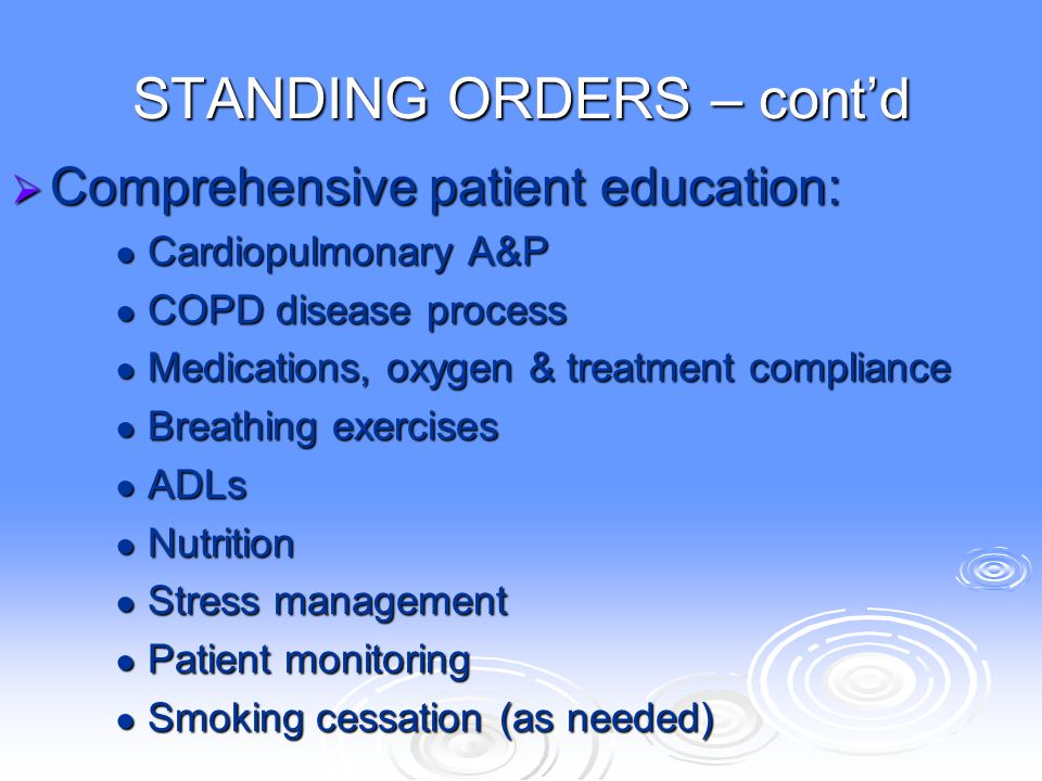 STANDING ORDERS – cont'd