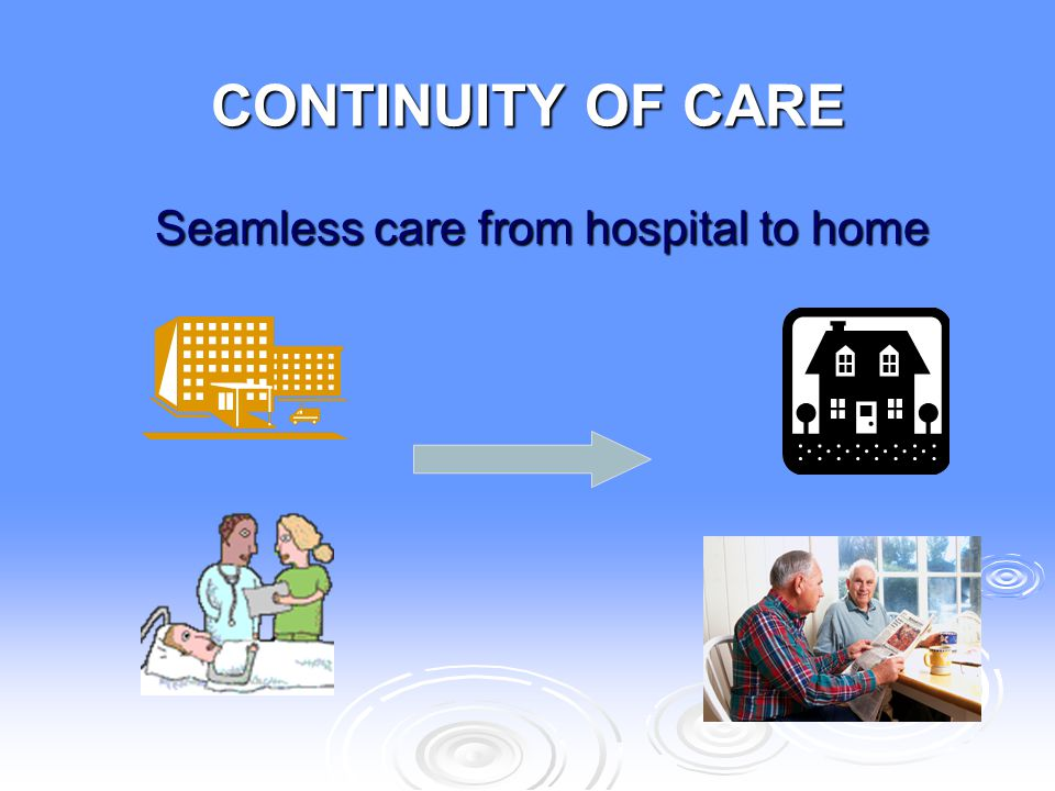CONTINUITY OF CARE Seamless care from hospital to home