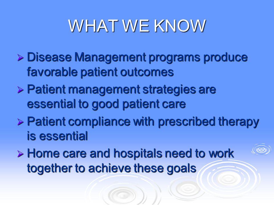 WHAT WE KNOW Disease Management programs produce favorable patient outcomes. Patient management strategies are essential to good patient care.