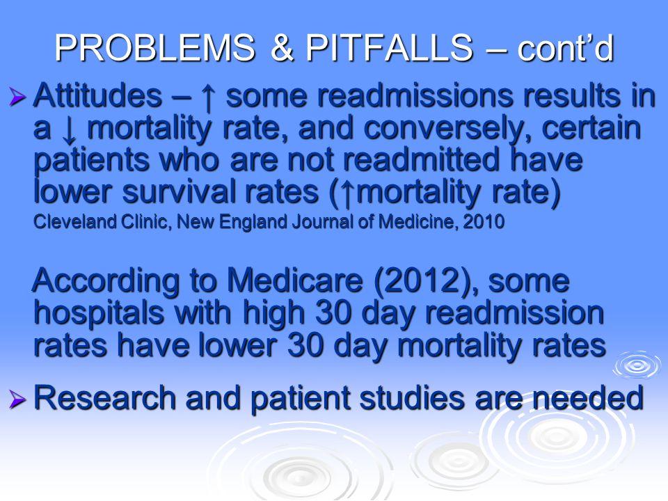 PROBLEMS & PITFALLS – cont'd