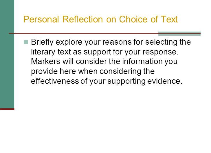 Personal Reflection on Choice of Text