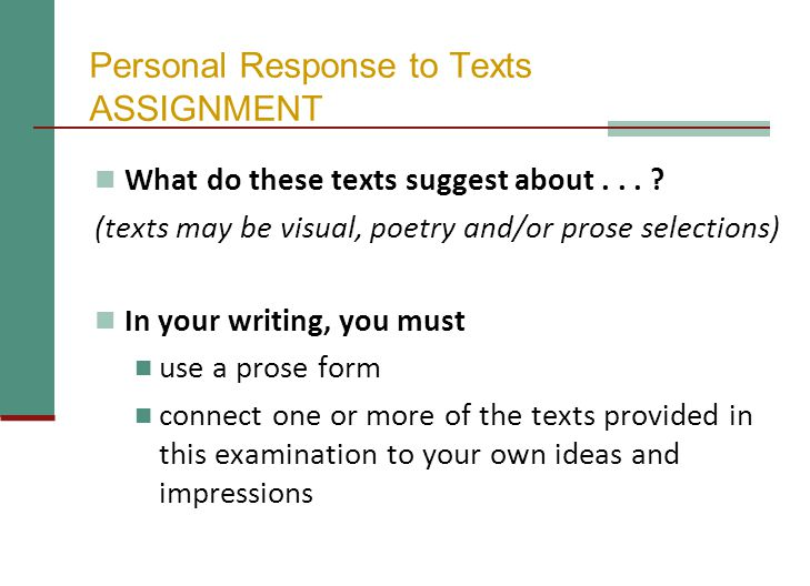 Personal Response to Texts ASSIGNMENT