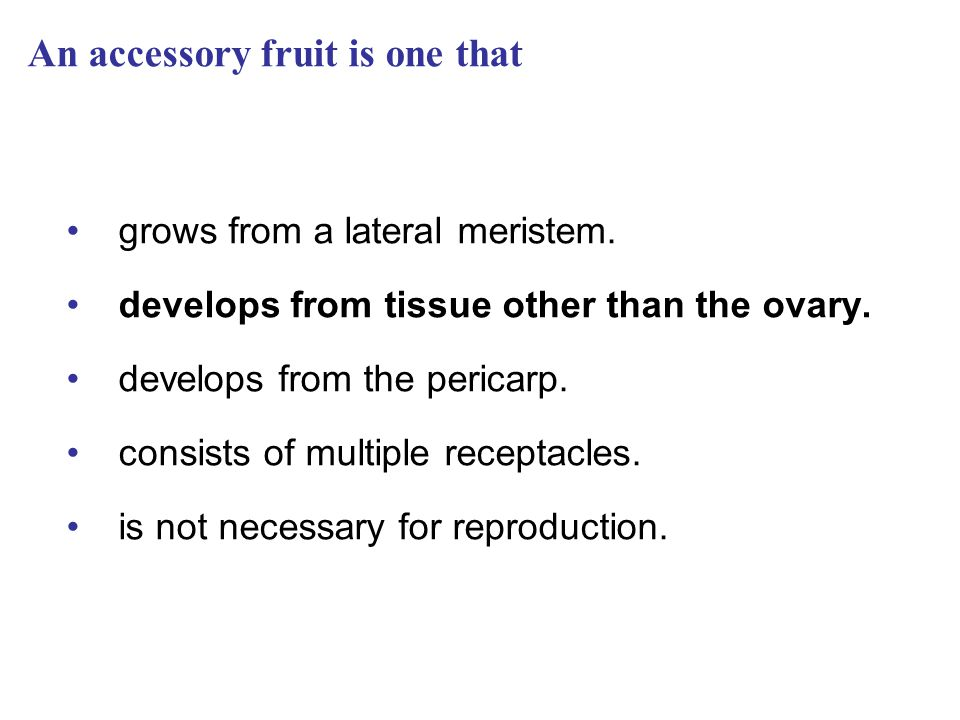 An accessory fruit is one that