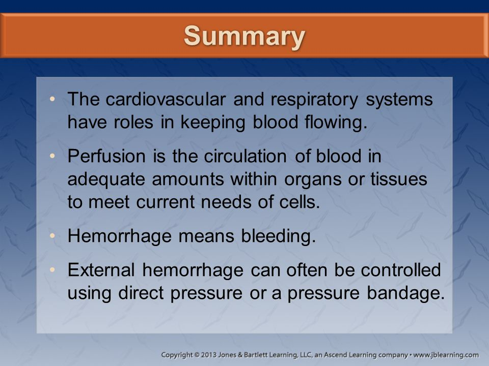 Summary The cardiovascular and respiratory systems have roles in keeping blood flowing.