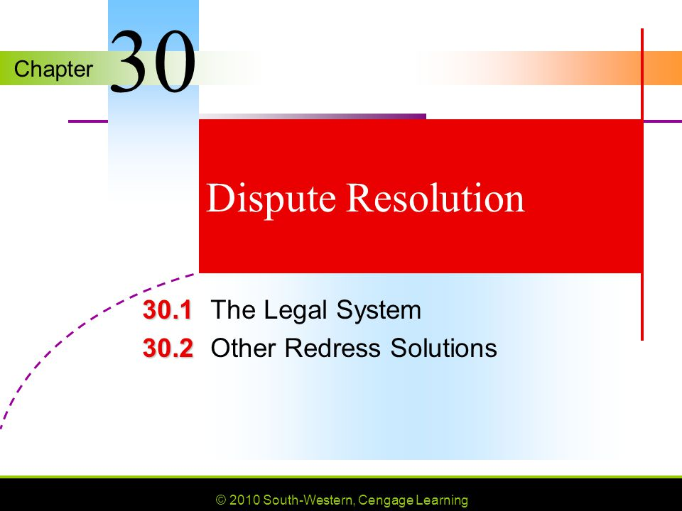 MYPF 30.1 The Legal System 30.2 Other Redress Solutions