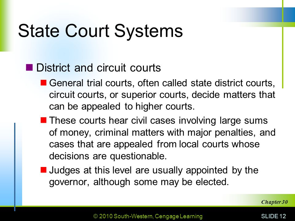 State Court Systems District and circuit courts