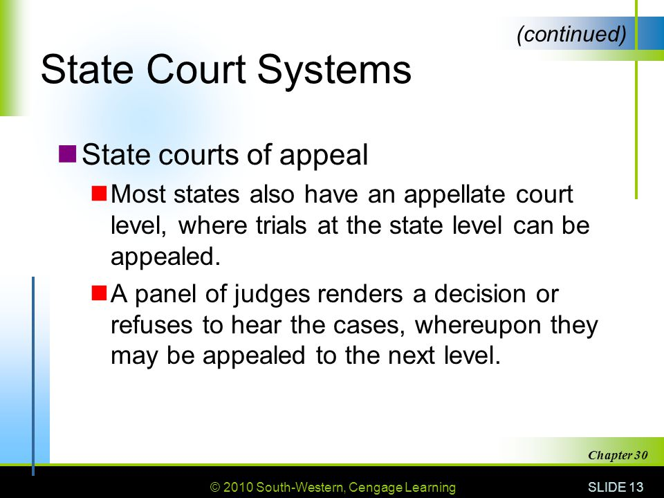 State Court Systems State courts of appeal
