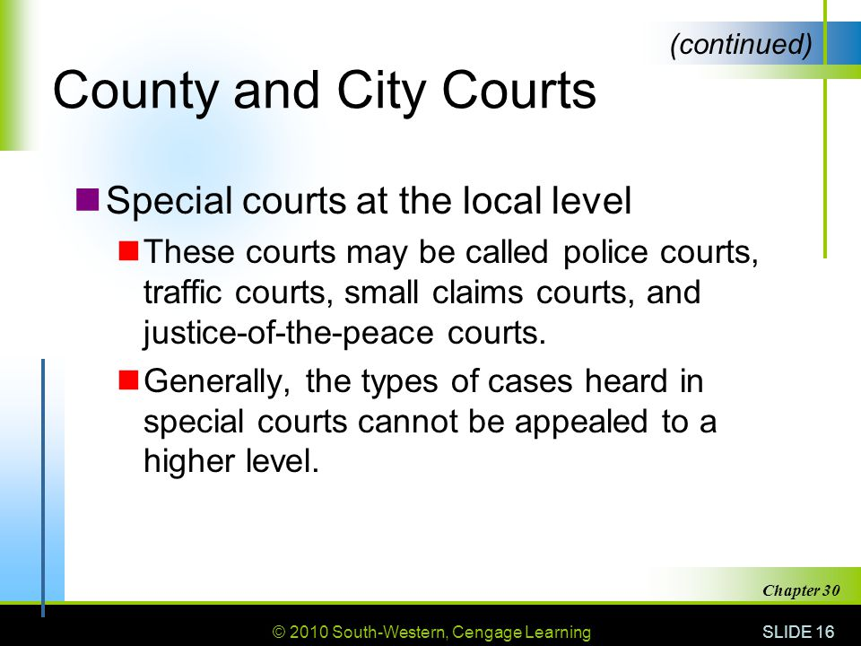 County and City Courts Special courts at the local level