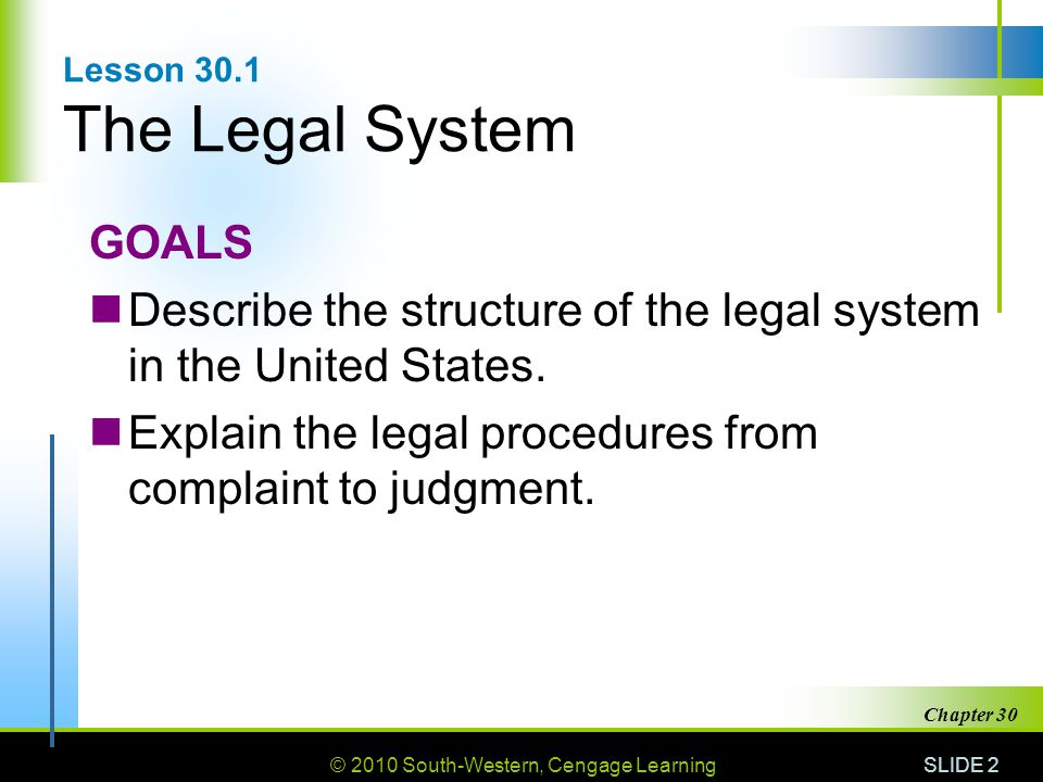 Lesson 30.1 The Legal System