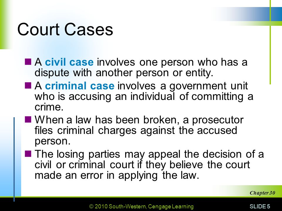 Court Cases A civil case involves one person who has a dispute with another person or entity.