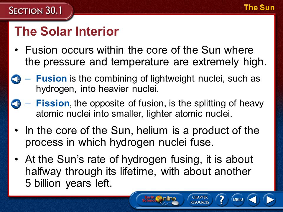 The Sun The Solar Interior. Fusion occurs within the core of the Sun where the pressure and temperature are extremely high.