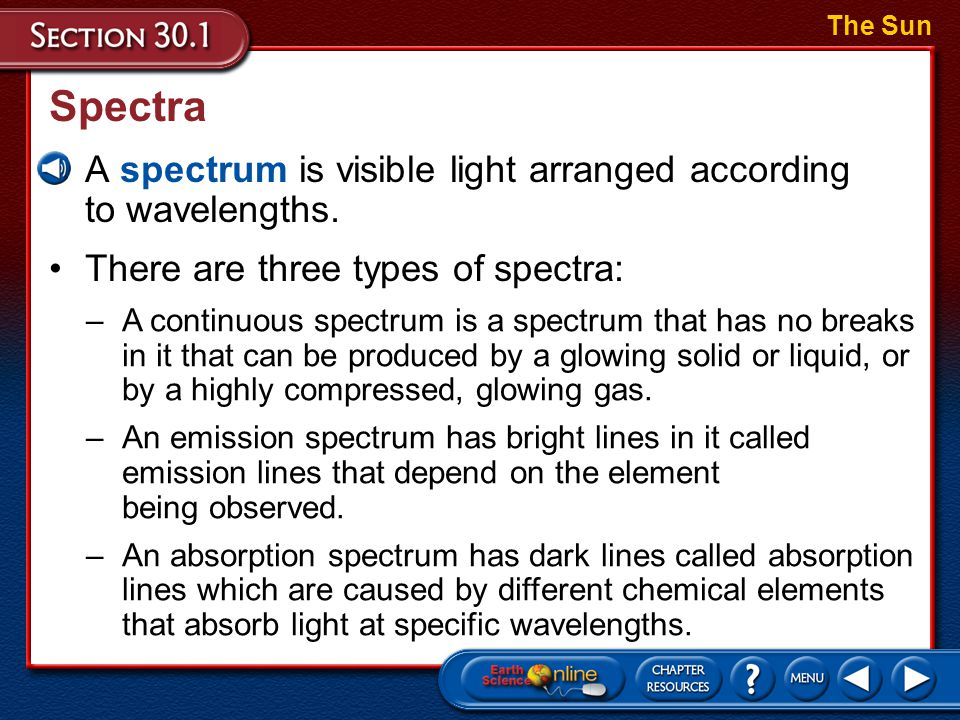 Spectra A spectrum is visible light arranged according to wavelengths.