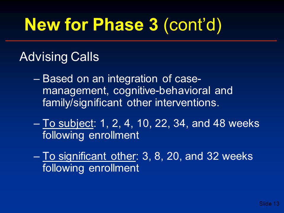 New for Phase 3 (cont'd) Advising Calls