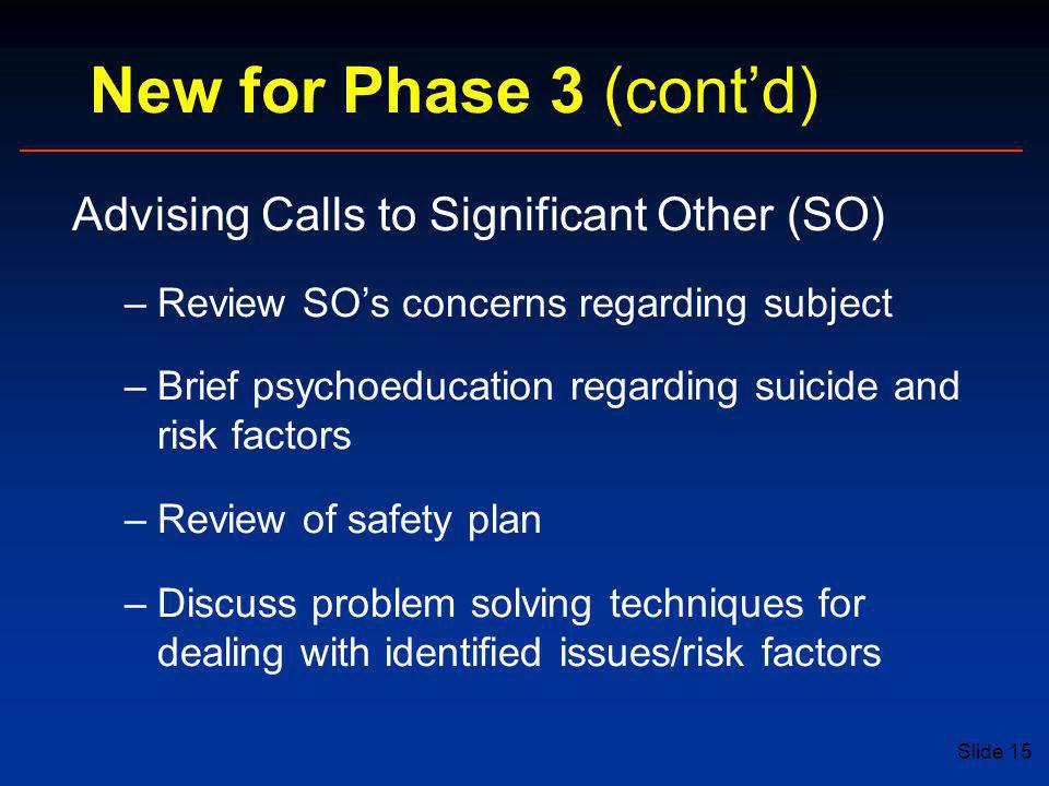 New for Phase 3 (cont'd) Advising Calls to Significant Other (SO)