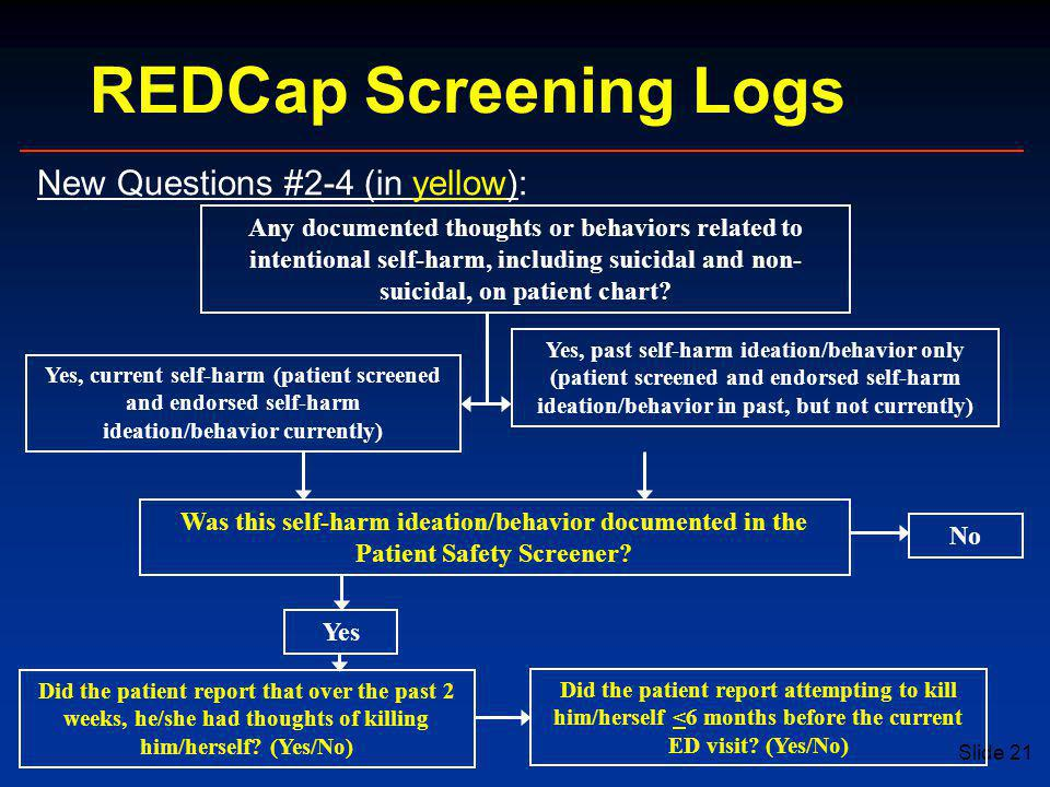 REDCap Screening Logs New Questions #2-4 (in yellow):