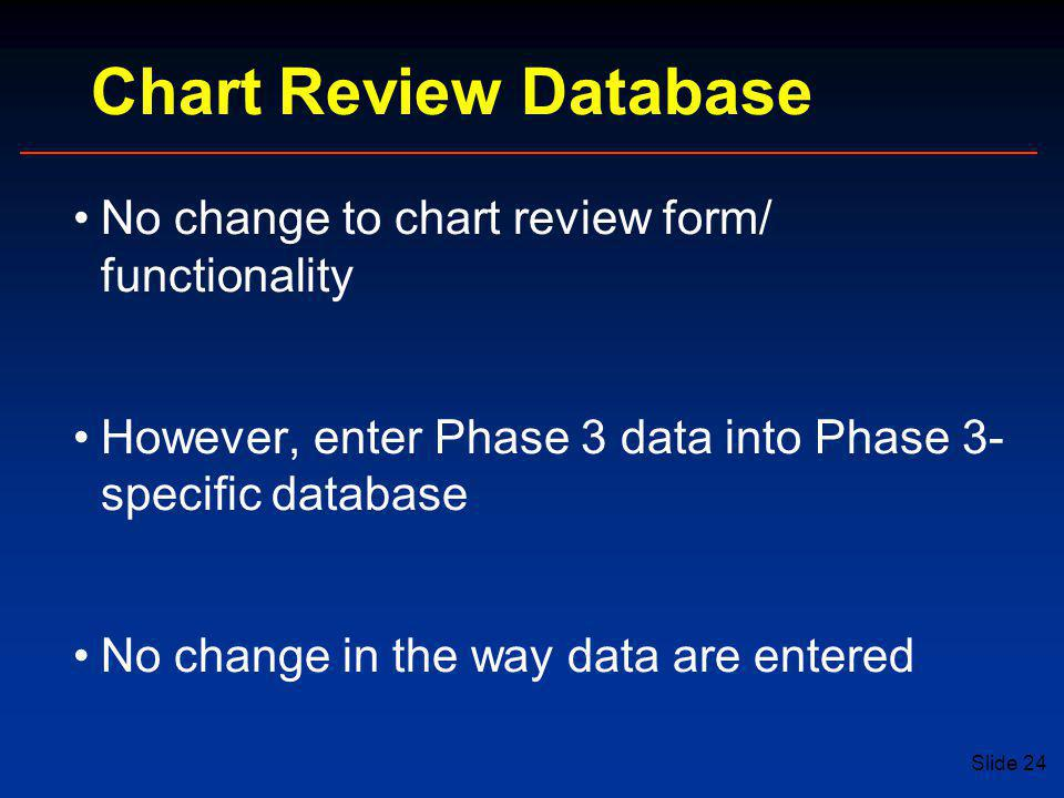 Chart Review Database No change to chart review form/ functionality