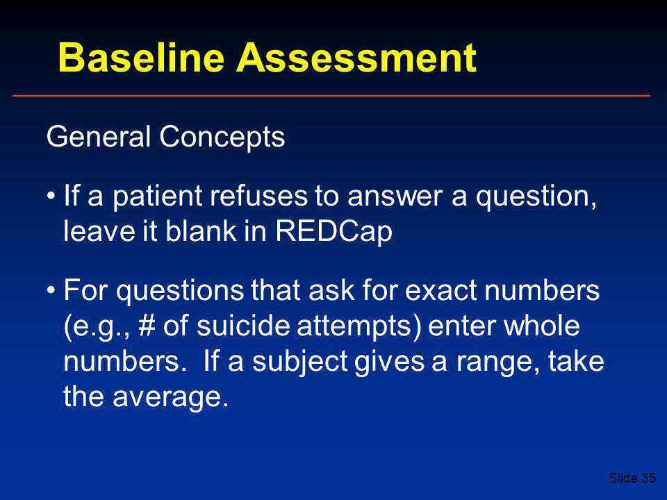 Baseline Assessment General Concepts