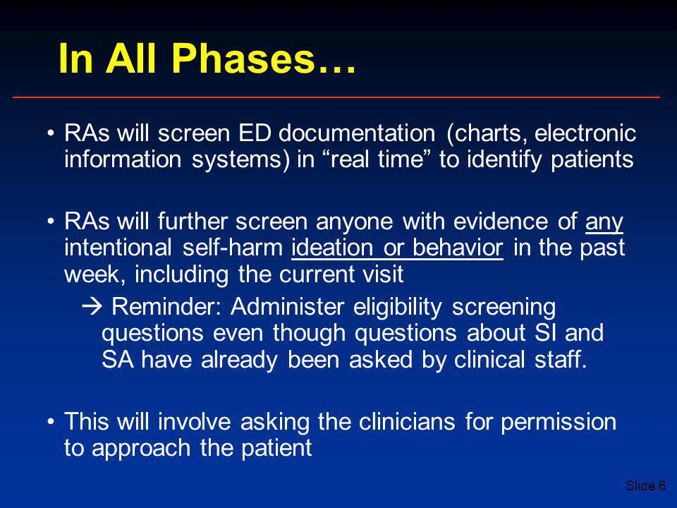 In All Phases… RAs will screen ED documentation (charts, electronic information systems) in real time to identify patients.