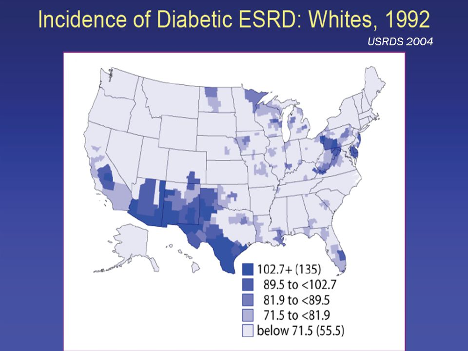 USRDS 2004 Diabetes and kidney disease are approaching epidemic levels in the U.S.
