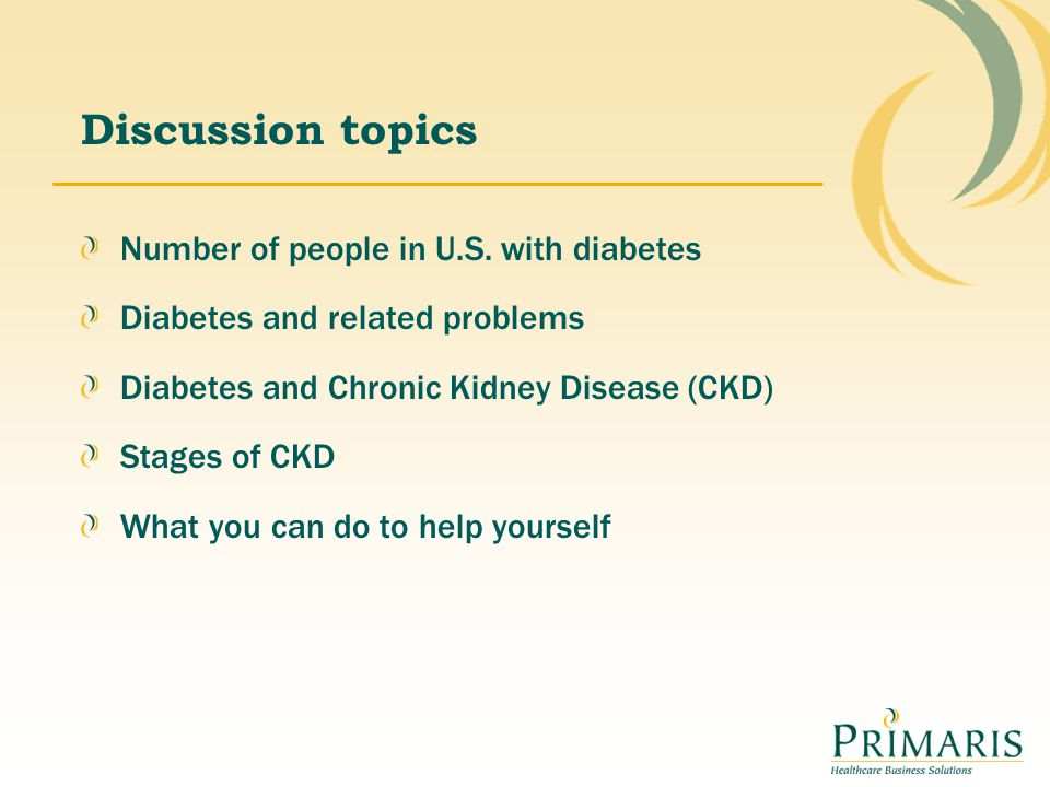 Discussion topics Number of people in U.S. with diabetes