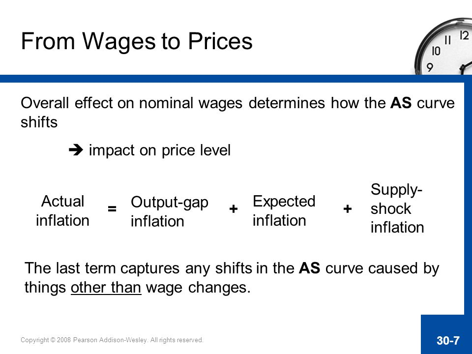 From Wages to Prices Overall effect on nominal wages determines how the AS curve shifts.  impact on price level.