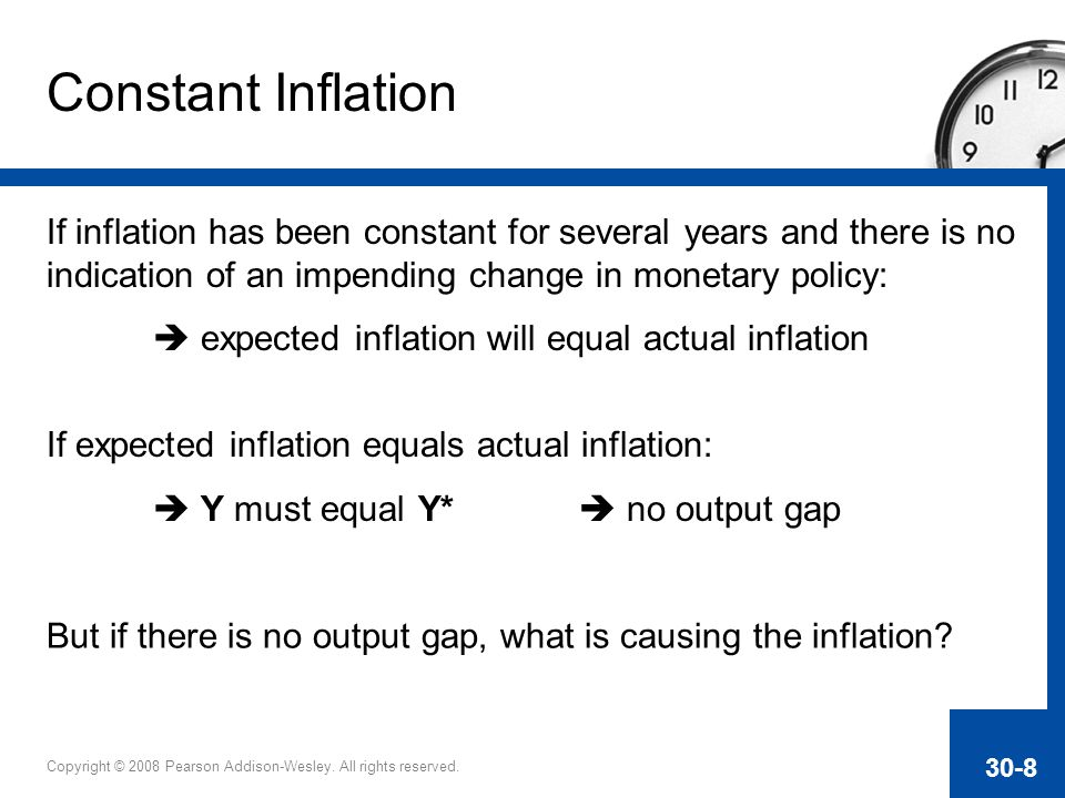 Constant Inflation If inflation has been constant for several years and there is no indication of an impending change in monetary policy: