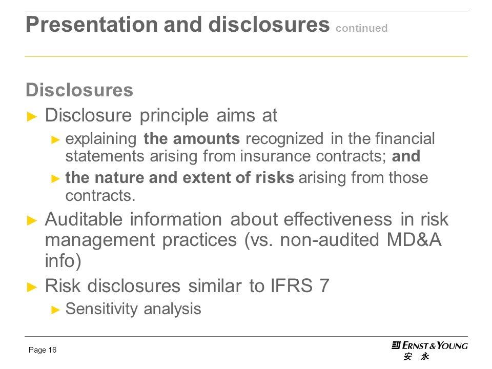 Presentation and disclosures continued